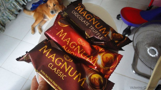 3 flavors of magnum ice cream