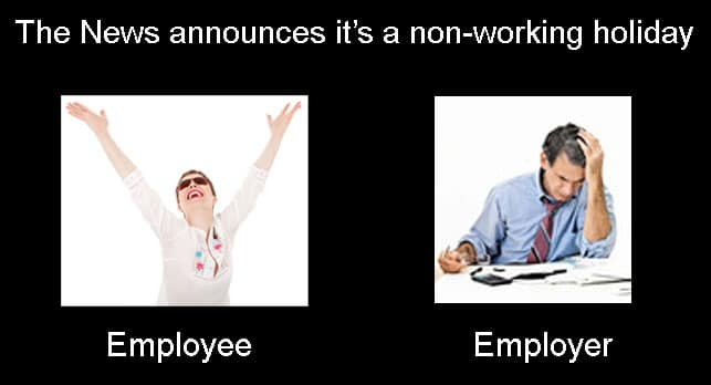 Employee and employer reaction on holiday