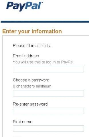 Enter your PayPal information to create account
