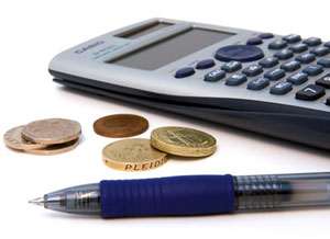 Calculator and pen for auditor