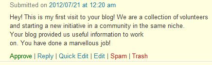 Sample comment in my blog
