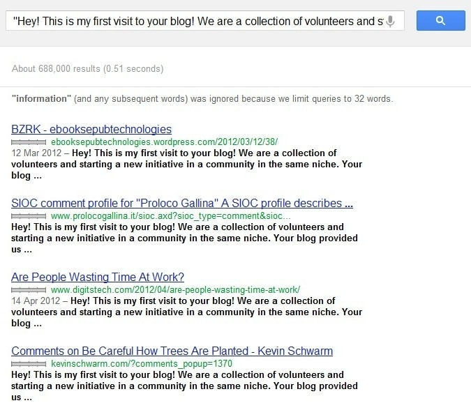Comment sample when searched in Google