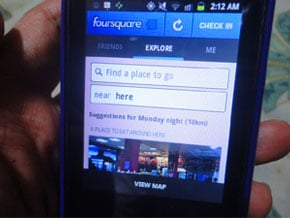 Foursquare on mobile phone