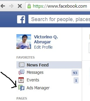 The Ads Manager menu on Facebook