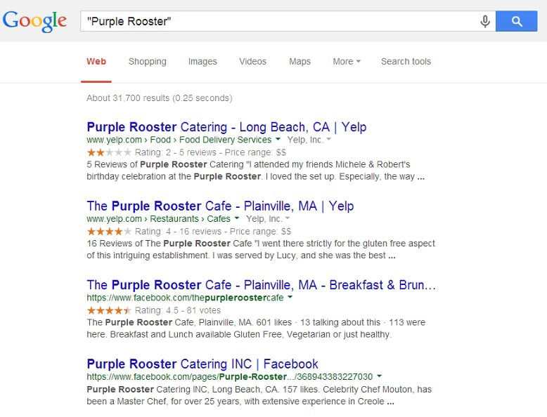 Business name search in Google