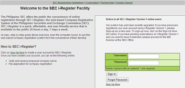SEC iRegister Facility
