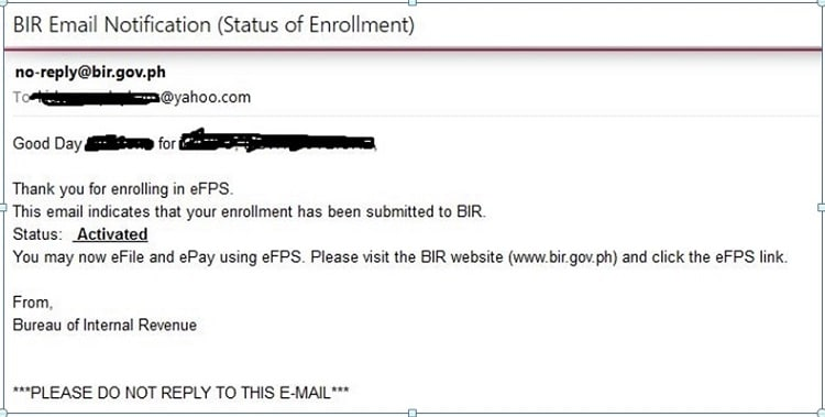 activation email template - how to register with the bir efps efiling and payment