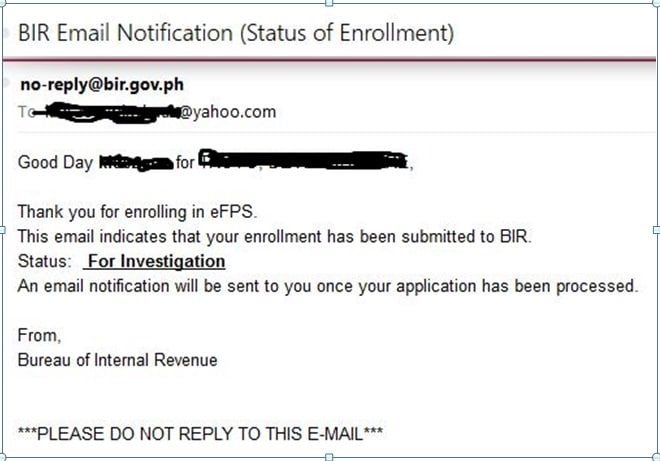 How to register with the bir efps efiling and payment system efps status of enrollment under investigation yadclub Gallery
