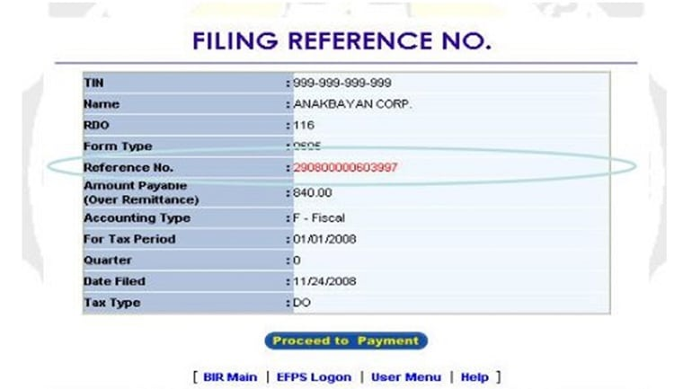 filing reference sample