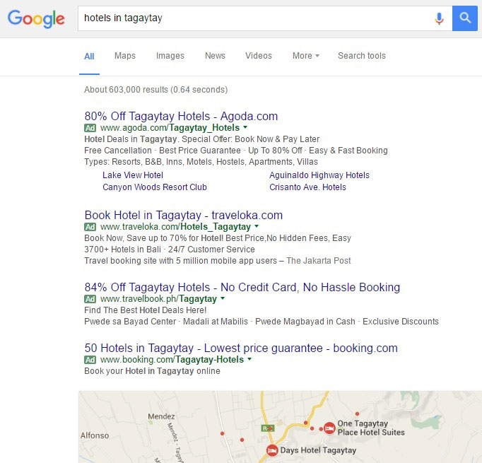 Google results for hotels in Tagaytay