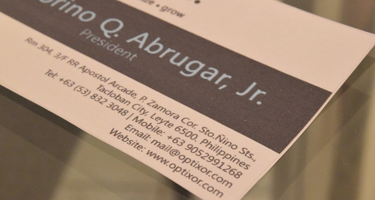 website on business card